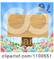 Clipart Happy Blue Bird Perched On A Wooden Sign Over Wild Flowers On A Sunny Day Royalty Free Vector Illustration