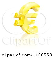 3d Sparkling Gold Euro Currency Symbol