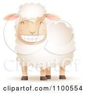 Clipart Happy Sheep Grinning Royalty Free Vector Illustration