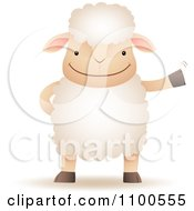 Clipart Happy Sheep Standing Upright And Waving Royalty Free Vector Illustration