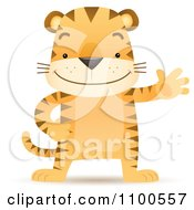 Clipart Happy Tiger Standing Upright And Waving Royalty Free Vector Illustration