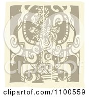 Clipart Mayan God Brown And Beige Royalty Free Vector Illustration by xunantunich
