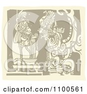 Clipart Mayan King Eating Before A God Brown And Beige Royalty Free Vector Illustration by xunantunich