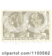 Clipart Mayans Kneeling Before Their God Brown And Beige Royalty Free Vector Illustration
