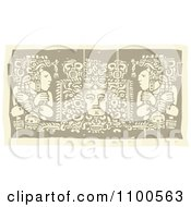 Clipart Faded Mayans Before Their God Brown And Beige Royalty Free Vector Illustration