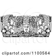 Clipart Mayan Men Beside A God Black And White Royalty Free Vector Illustration by xunantunich