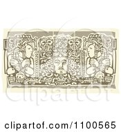 Clipart Mayans Before Their God Brown And Beige Royalty Free Vector Illustration