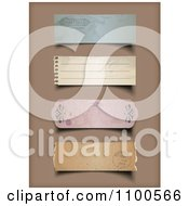 3d Vintage Torn Paper Labels On Brown
