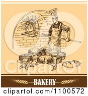 Clipart Bakery Sketch Of A Chef Bread And Brick Oven Royalty Free Vector Illustration by Eugene