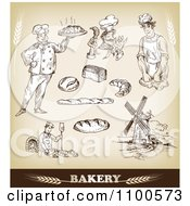 Clipart Bakery Sketches With Chefs And Bread 1 Royalty Free Vector Illustration by Eugene