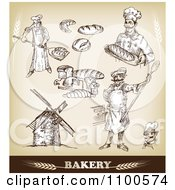 Clipart Bakery Sketches With Chefs And Bread 2 Royalty Free Vector Illustration by Eugene