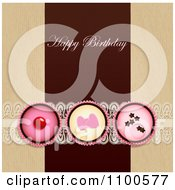 Clipart Happy Birthday Greeting Over Cupcakes With Lace On Brown And Beige Royalty Free Vector Illustration