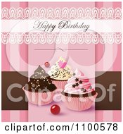 Clipart Lacy Happy Birthday Greeting Over Cupcakes On Pink And Brown Royalty Free Vector Illustration