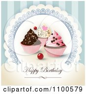 Clipart Happy Birthday Greeting With Cupcakes On Blue Royalty Free Vector Illustration by Eugene #COLLC1100579-0054