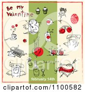 Clipart Valentines Day Items And Text On Beige And Green 1 Royalty Free Vector Illustration by Eugene