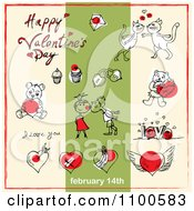Clipart Valentines Day Items And Text On Beige And Green 2 Royalty Free Vector Illustration