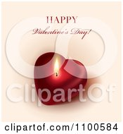Happy Valentines Day Greeting Over A Glowing Candle Heart