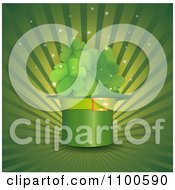 Clipart Leprechaun Hat And St Patricks Day Shamrocks With Dew Sparkles And Rays Royalty Free Vector Illustration