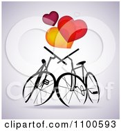 Clipart Silhouetted Bikes In Love Under Hearts On Gray Royalty Free Vector Illustration by Eugene