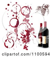Red Grapes With Wine Stains And 3d Bottles