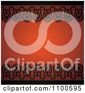 Vintage Silhouetted Lace Borders And Orange Background