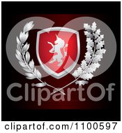 Unicorn Lion Crest Shield With Leaves On Dark Red