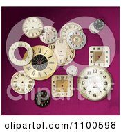Clipart Scattered Clock Faces Over Pink Royalty Free Vector Illustration