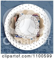 Clipart Lacy Dantelle Doily On A Plate On Blue Table Cloth Royalty Free Vector Illustration