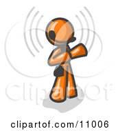 Orange Customer Service Representative Taking A Call With A Headset In A Call Center Clipart Illustration