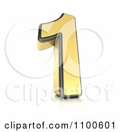 Clipart 3d Golden Digit Number 1 Royalty Free CGI Illustration by stockillustrations