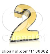 Clipart 3d Golden Digit Number 2 Royalty Free CGI Illustration