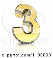 Clipart 3d Golden Digit Number 3 Royalty Free CGI Illustration by stockillustrations
