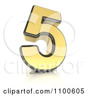 Clipart 3d Golden Digit Number 5 Royalty Free CGI Illustration by stockillustrations