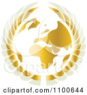 Clipart Gold And White Winged Globe Royalty Free Vector Illustration