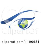 Clipart Blue And Green Global Eye And Brow Royalty Free Vector Illustration