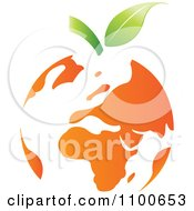 Clipart Orange Fruit Earth Globe With Leaves Royalty Free Vector Illustration