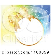 Clipart 3d Golden Christmas Bauble Frame With A Bow Over Mesh And Snowflakes Royalty Free Vector Illustration