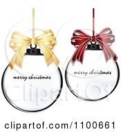 Clipart 3d Gold And Red Bows Over Merry Christmas Bauble Frames Royalty Free Vector Illustration