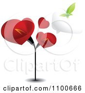 Clipart Leaf Butterfly And Word Balloon Over Red Lilies Royalty Free Vector Illustration by creativeapril