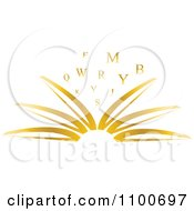 Clipart Open Golden Publisher Book With Letters Royalty Free Vector Illustration