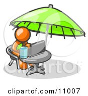 Traveling Orange Business Man Sitting Under An Umbrella At A Table Using A Laptop Computer Clipart Illustration by Leo Blanchette