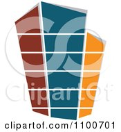 Clipart Brown Teal And Orange Skyscraper Royalty Free Vector Illustration