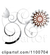 Clipart Silver And Brown Daisy Vine With Tendrils Royalty Free Vector Illustration