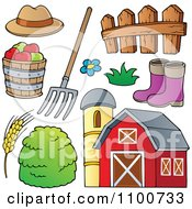 Farmer Hat Pitchfork Fence Rubber Boots Apples Wheat Hay And Barn