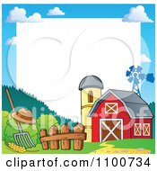 Clipart Frame Of A Red Barn With A Silo And Windmill And White Copyspace Royalty Free Vector Illustration