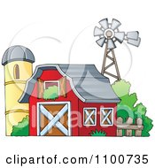 Clipart Red Barn With An Open Hay Loft A Silo And Windmill Royalty Free Vector Illustration
