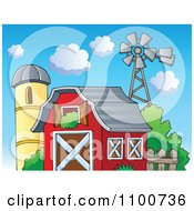 Clipart Red Barn With Hay In The Loft A Silo And Windmill Royalty Free Vector Illustration