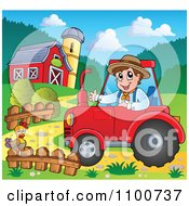 Clipart Happy Farmer Driving A Red Tractor By A Barn Royalty Free Vector Illustration