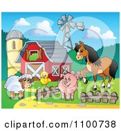 Sheep Chicken Pig And Horse By A Red Barn Silo And Windmill