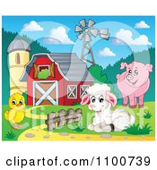 Clipart Sheep Chicken Pig By A Red Barn Silo And Windmill Royalty Free Vector Illustration